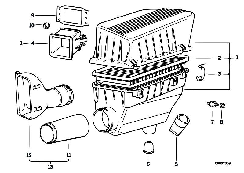 original parts for z3 z3 1 8 m43 roadster    fuel preparation system   suction silencer filter