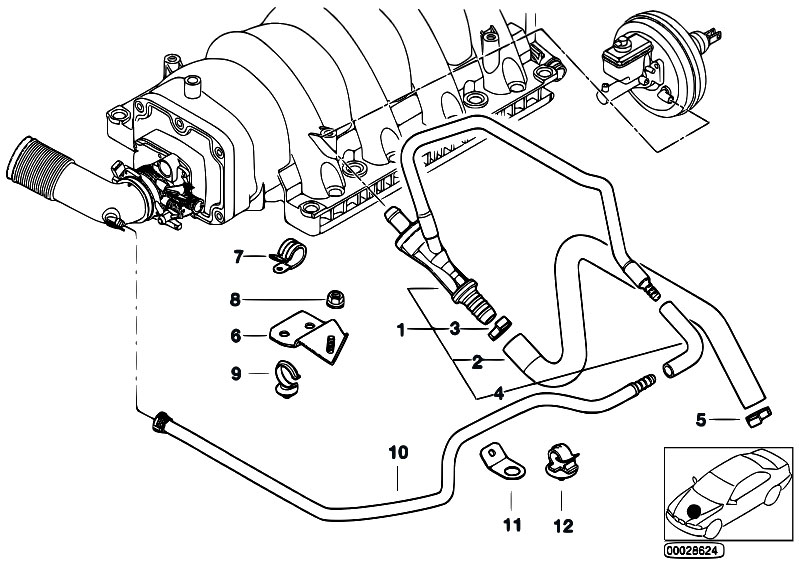 original parts for e38 735i m62 sedan    engine   vacuum