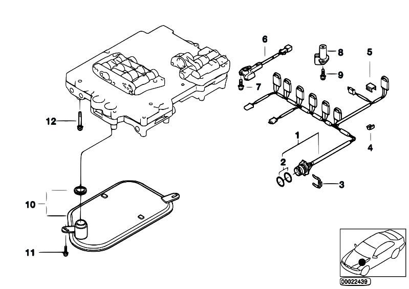 original parts for e38 728i m52 sedan    automatic transmission   a5s325z wiring oil filt pulse