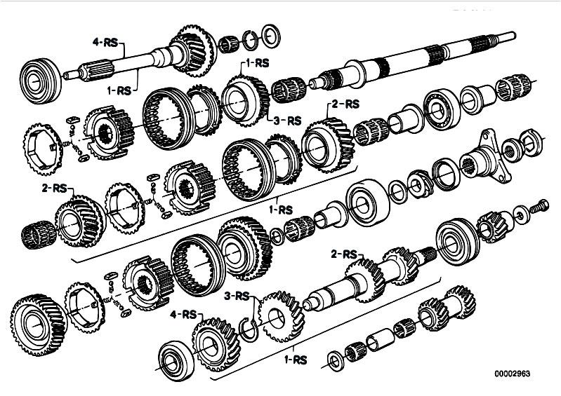 original parts for e12 528 m30 sedan    manual transmission   getrag 265 5 gear wheel set repair