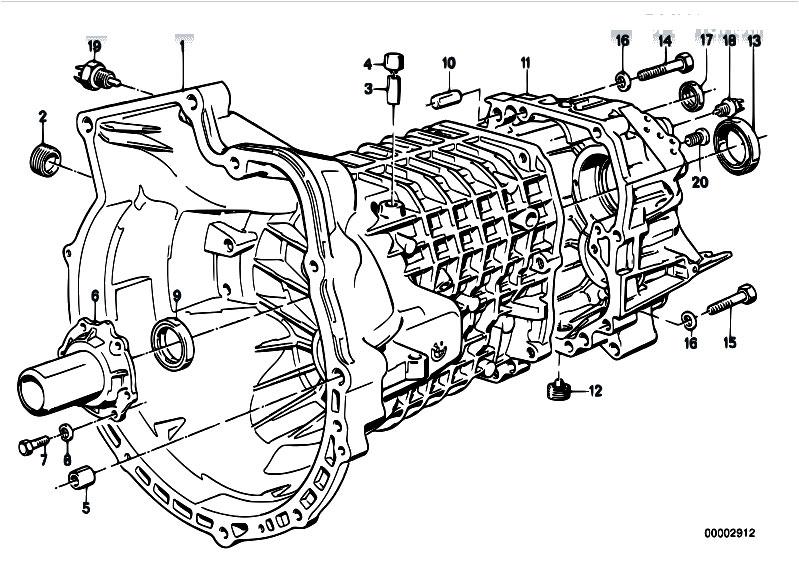 original parts for e21 318i m10 sedan    manual transmission   getrag 240 housing attaching parts