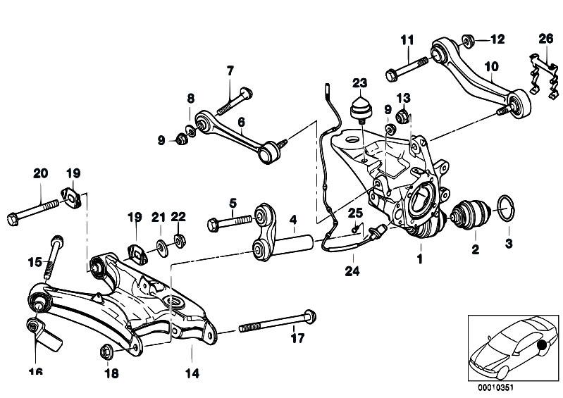 Original Parts For E39 540i M62 Touring    Rear Axle   Rear