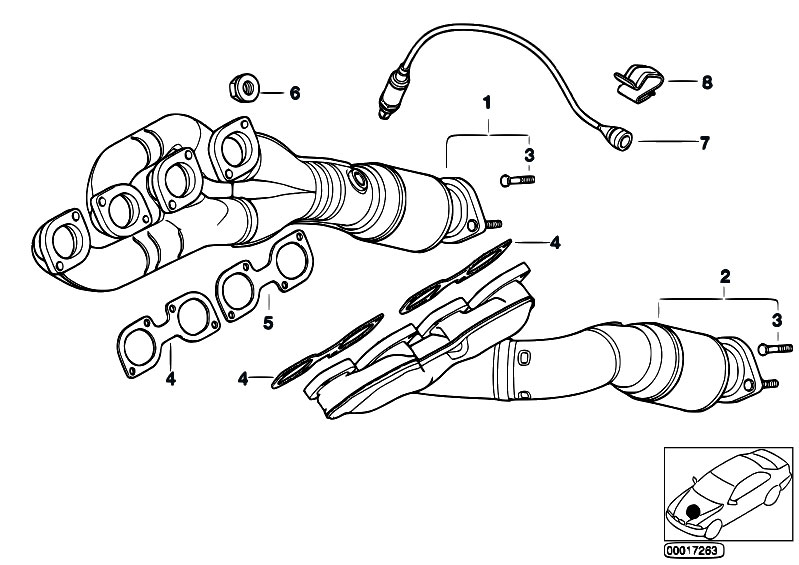 Original Parts For E38 740i M62 Sedan    Engine   Exhaust Manifold With Catalyst
