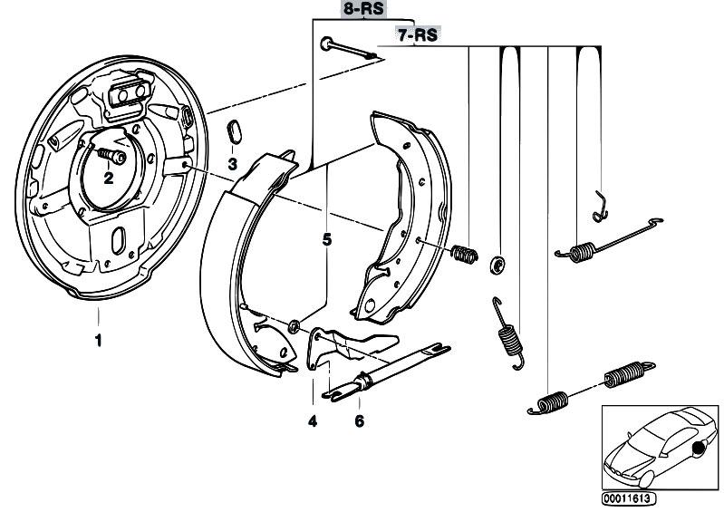 Original Parts for E36 318tds M41 Compact / Brakes/ Drum Brake Brake Shoes  Brake Carrier - eStore-Central.comeStore-Central.com