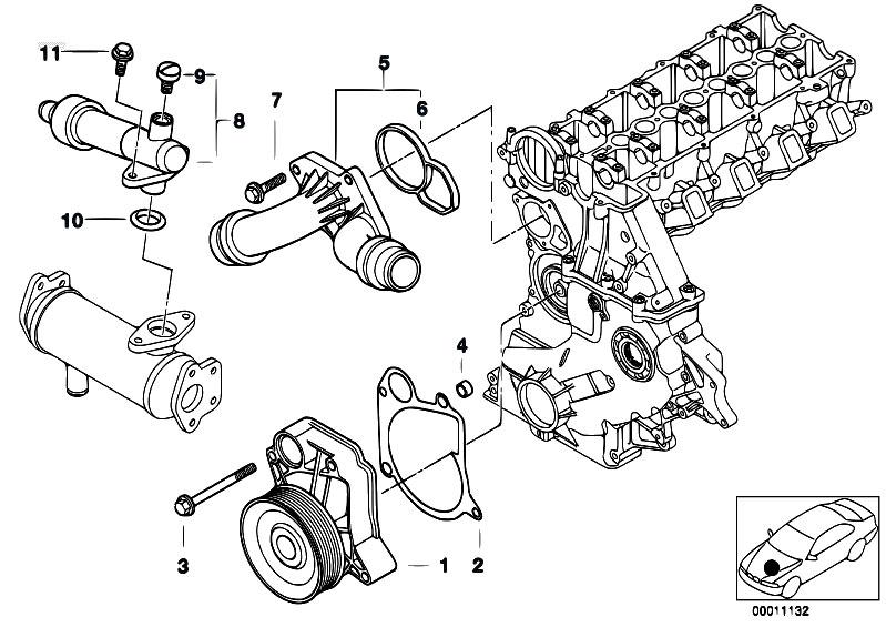 Original Parts For E39 520d M47 Sedan    Engine   Waterpump
