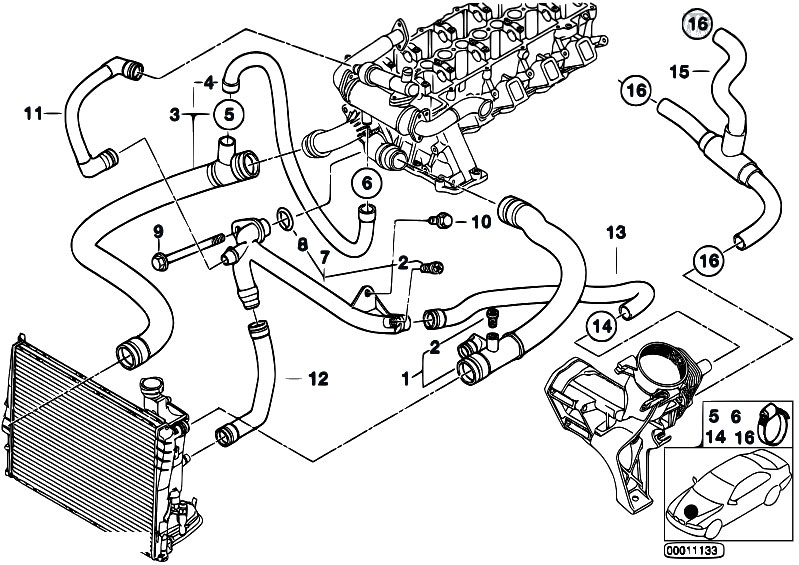 Original Parts For E46 320d M47 Sedan Engine Cooling System Water Hoses Estorecentral: BMW M62 Wiring Diagram At Johnprice.co
