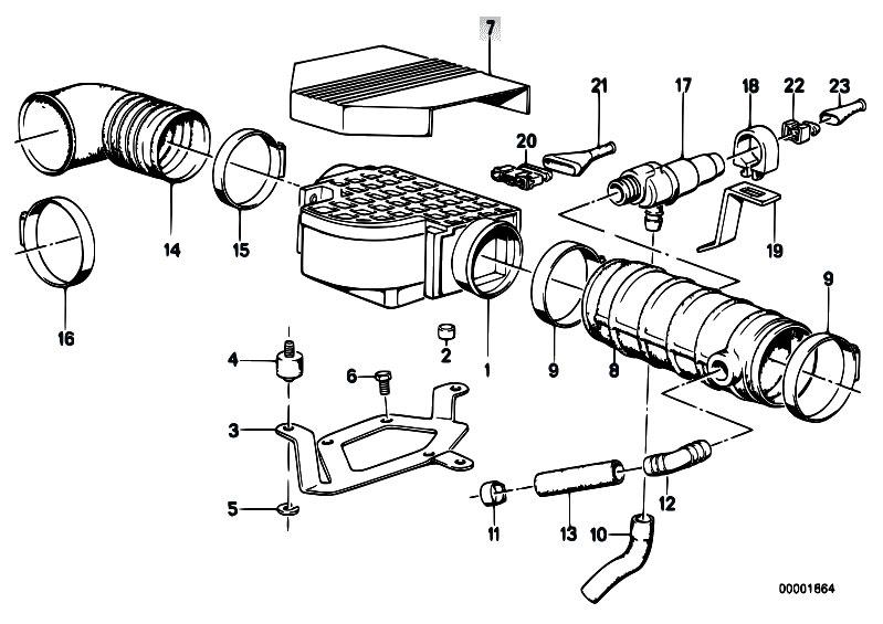 original parts for e32 730i m30 sedan    fuel preparation system   volume air flow sensor