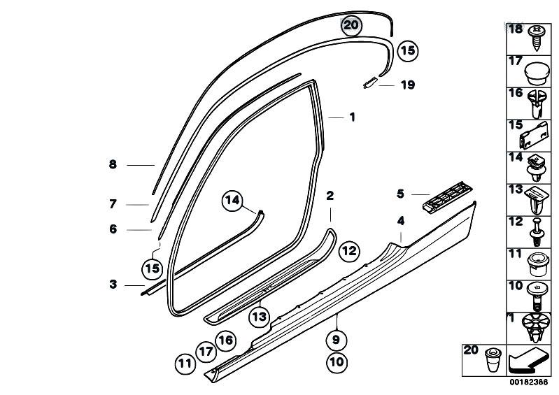 BMW E92 E93 Sill Spacer Clip 07146965447