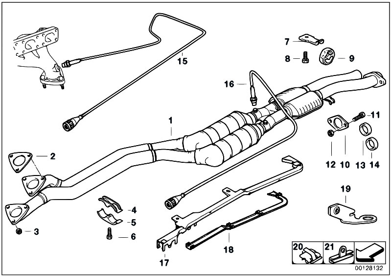 original parts for e36 328i m52 sedan    exhaust system