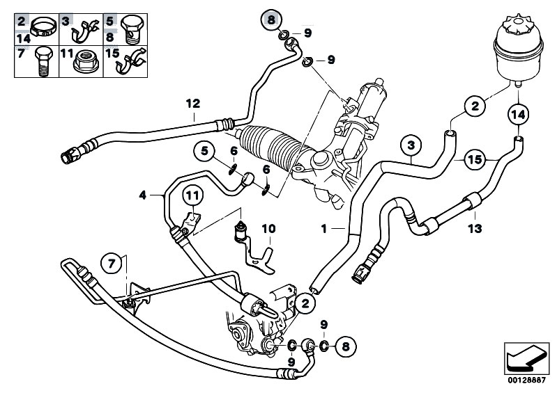original parts for e60 525i m54 sedan    steering   hydro steering oil pipes 2