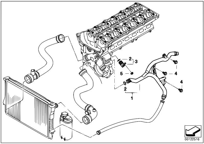 Original Parts For E60 525i M54 Sedan Engine Cooling System Water Hoses Estorecentralcom: BMW M54 Engine Diagram At Anocheocurrio.co
