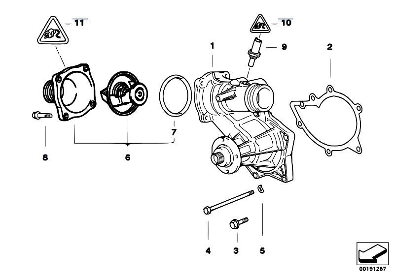 original parts for e53 x5 4 6is m62 sav    engine   waterpump thermostat