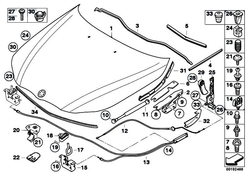 Original Parts For E64 645ci N62 Cabrio Bodywork Engine Hood