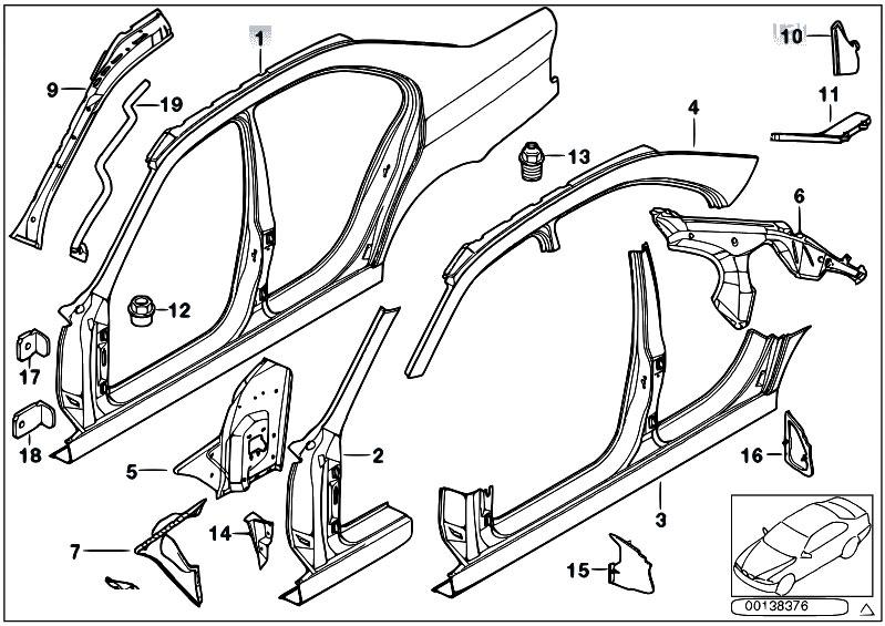 Original Parts For E39 M5 S62 Sedan Bodywork Body Side Frame