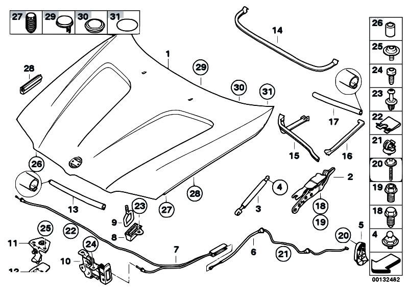 Original Parts For E83 X3 2 0d M47n2 Sav    Bodywork   Engine Hood Mounting Parts