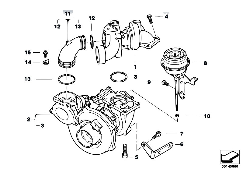 original parts for e60 535d m57n sedan / engine/ turbo ... 2007 bmw 328i engine diagram bmw e60 engine diagram #11