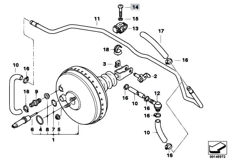 original parts for e36 318i m40 sedan    brakes   power brake unit depression 4