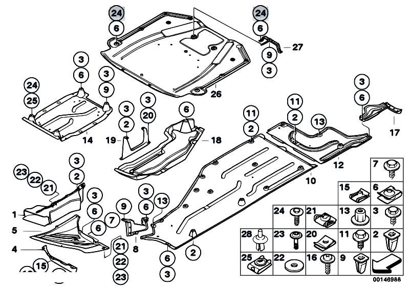 original parts for e66 735li n62 sedan    vehicle trim   shield engine comp underfloor panelling