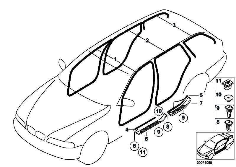 Original Parts For E39 540i M62 Touring Vehicle Trim Edge