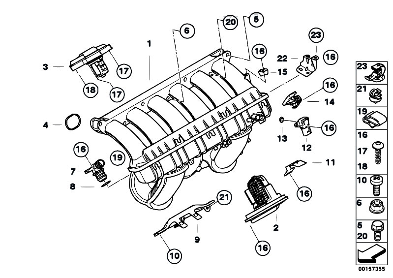 original parts for e60 530i n52 sedan    engine   intake