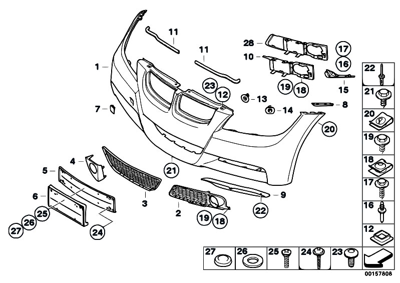 bmw 320i front bumper parts schematic