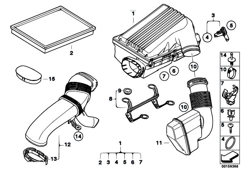 original parts for e70 x5 3 0si n52n sav    fuel preparation system   intake silencer filter