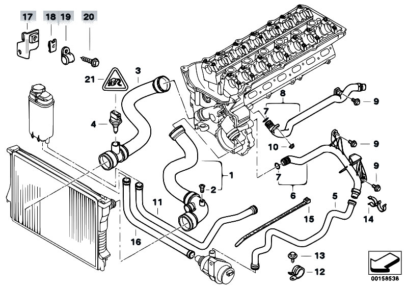 Original Parts For E38 728i M52 Sedan Engine Cooling