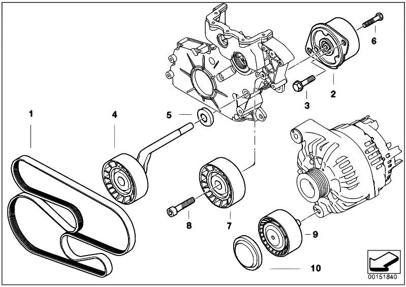 Original Parts For E60 530d M57n Sedan    Engine   Belt
