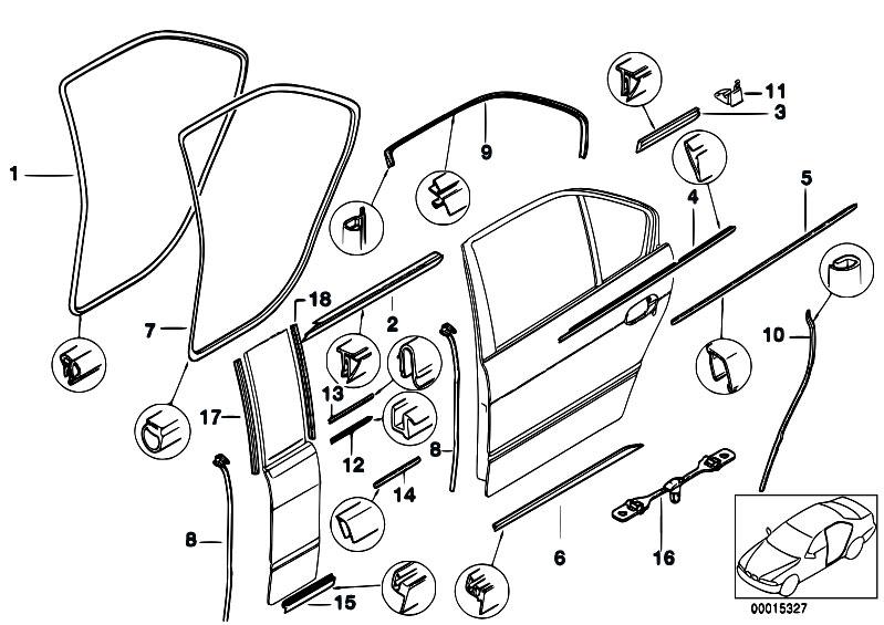 Original Parts For E39 M5 S62 Sedan Bodywork Door Weatherstrip