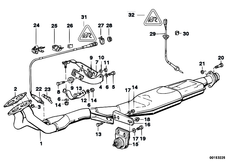 original parts for e30 318i m40 2 doors    exhaust system