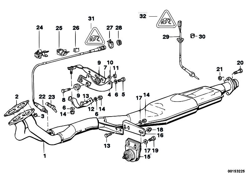 Original Parts For E30 318i M40 2 Doors    Exhaust System