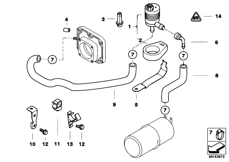 original parts for e38 735i m62 sedan    fuel preparation system   fuel tank breather valve
