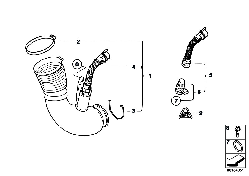 Original Parts For E83n X3 2 0d N47 Sav    Fuel Preparation System   Filtered Air Pipe