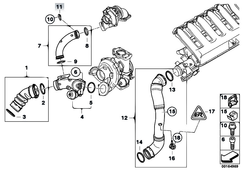 Original Parts for E90 335d M57N2 Sedan / Engine/ Intake Manifold  Supercharg Air Duct Agr - eStore-Central.comeStore-Central.com