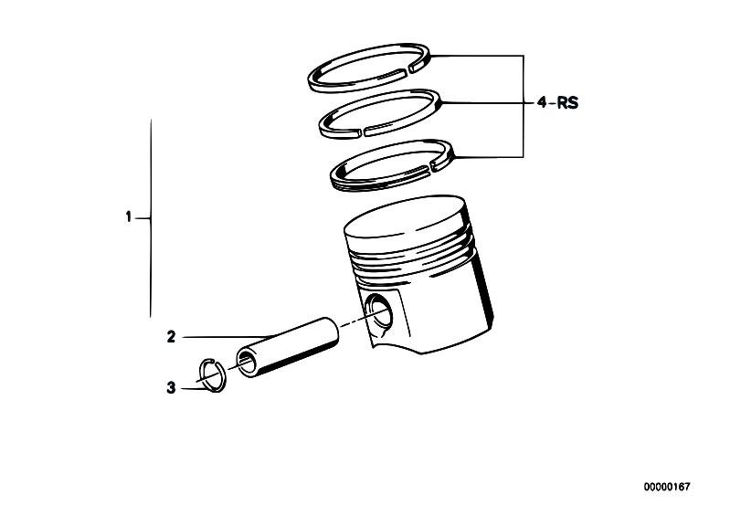 Original Parts for E34 525i M20 Sedan / Engine/ Crankshaft Pistons