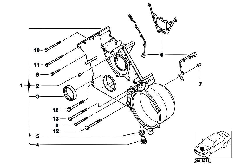 Original Parts For E39 540i M62 Touring Engine Lower Timing Case
