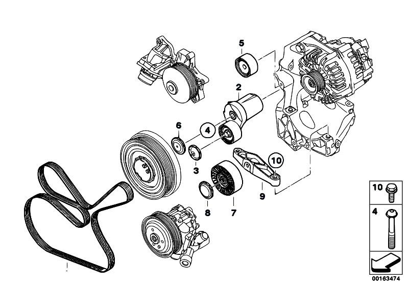 original parts for e81 116d n47 3 doors    engine   belt