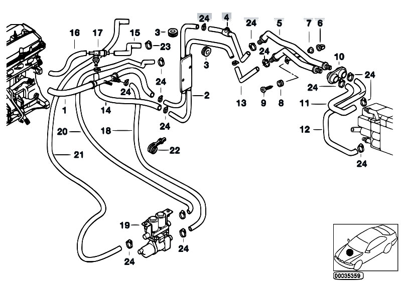 original parts for e39 520d m47 sedan    heater and air conditioning   hoses f pump and valve