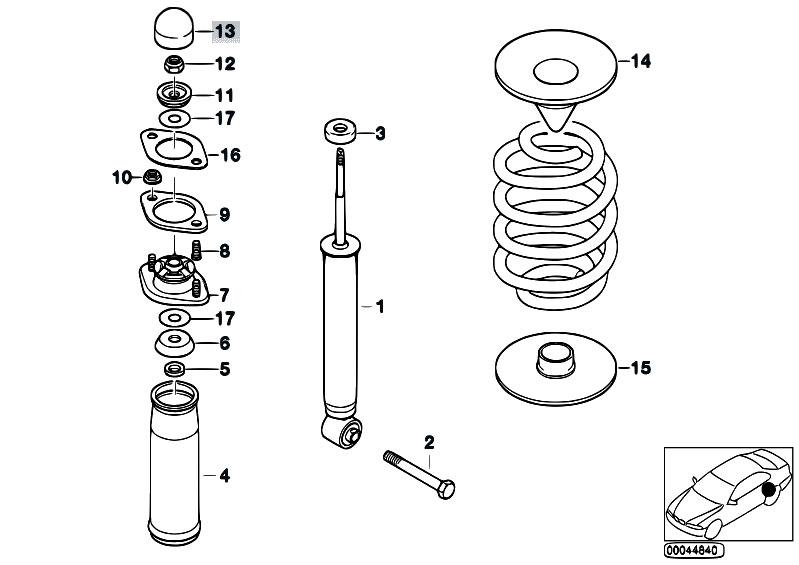 Original Parts for E36 316g M43 Compact / Rear Axle/ Single