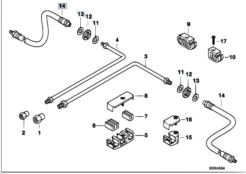 original parts for e38 740i m60 sedan    brakes   brake pipe rear abs asc t