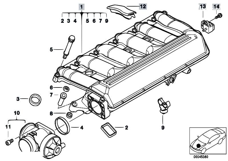 Original Parts For E39 525d M57 Touring    Engine   Intake