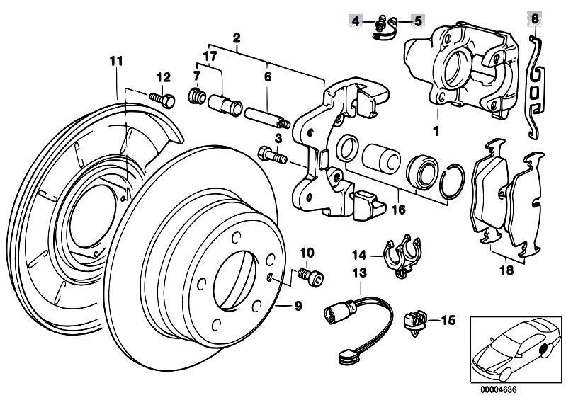 original parts for e36 316i 1 9 m43 compact    brakes   rear