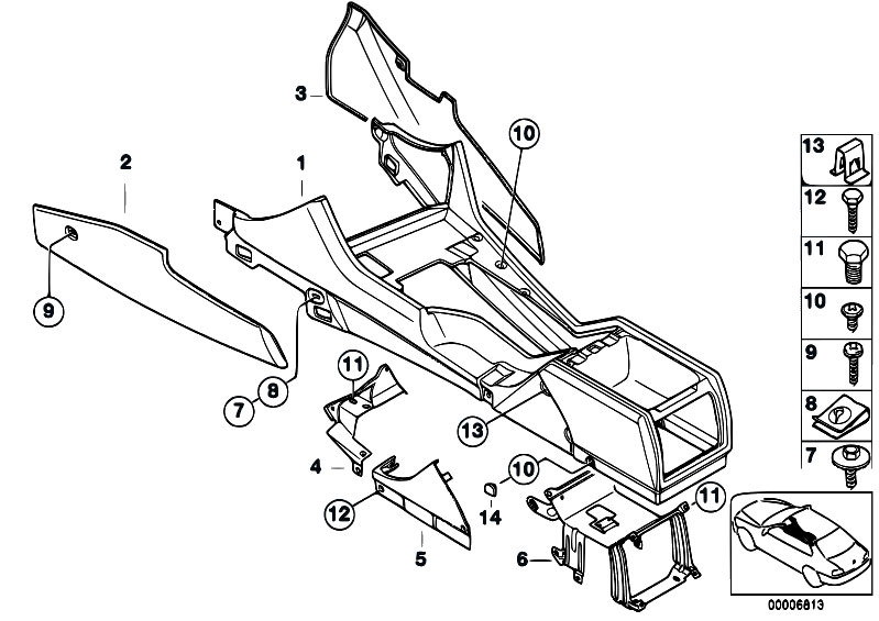 Original Parts For E39 M5 S62 Sedan Vehicle Trim Centre Console