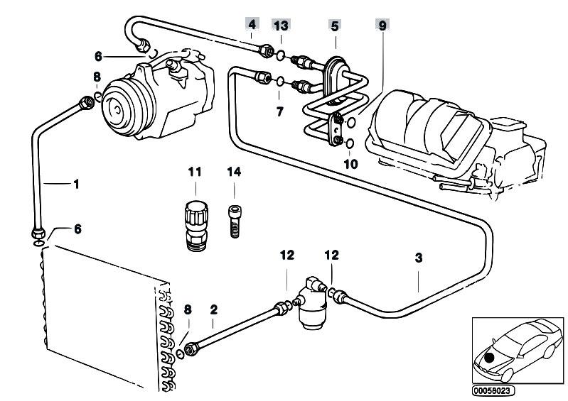 Original Parts For E36 318i M43 Cabrio    Heater And Air Conditioning   Coolant Lines