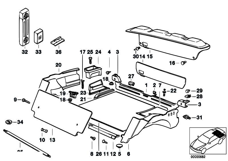 Original Parts For E36 318i M40 Sedan Vehicle Trim Trunk Trim