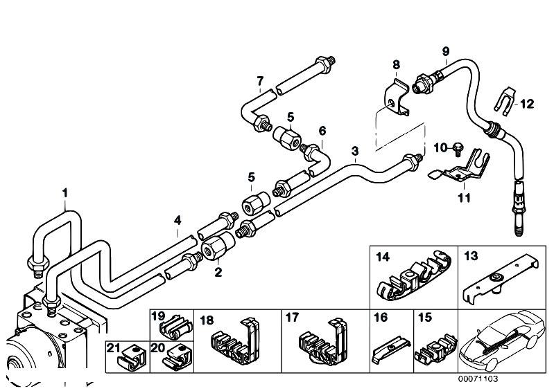 Original Parts for E46 330i M54 Touring / Brakes/ Rear Brake Pipe