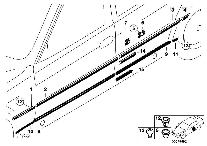Original Parts for E38 730i M60 Sedan / Vehicle Trim/ Mould