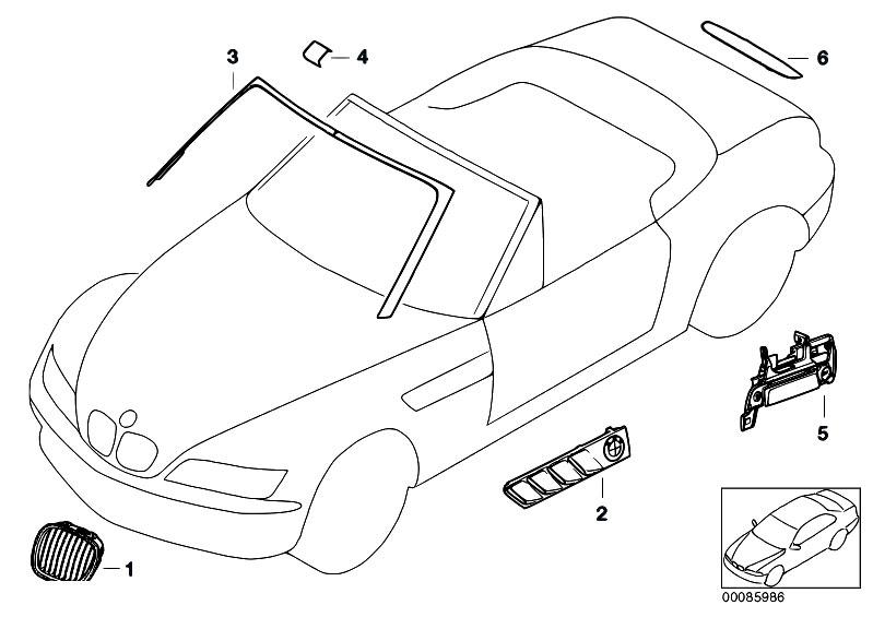 Original parts for z3 z3 1 8 m43 roadster vehicle trim for Chrome line exterieur bmw