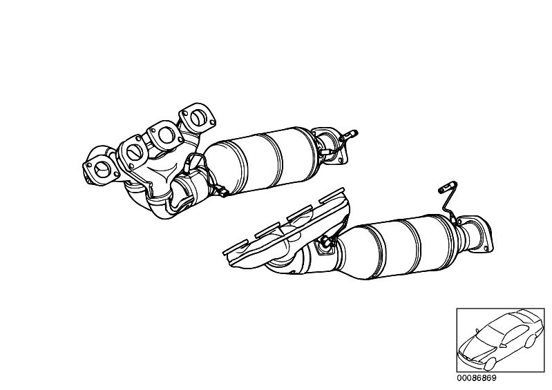 original parts for e60 545i n62 sedan    engine   exhaust