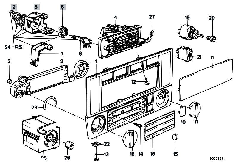 original parts for e30 318i m40 4 doors heater and air conditioning heater control estore. Black Bedroom Furniture Sets. Home Design Ideas